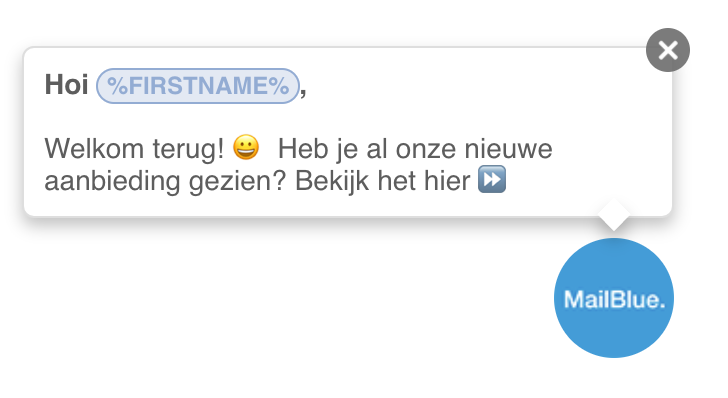 site-messaging-mailblue-activecampaign-voorbeeld