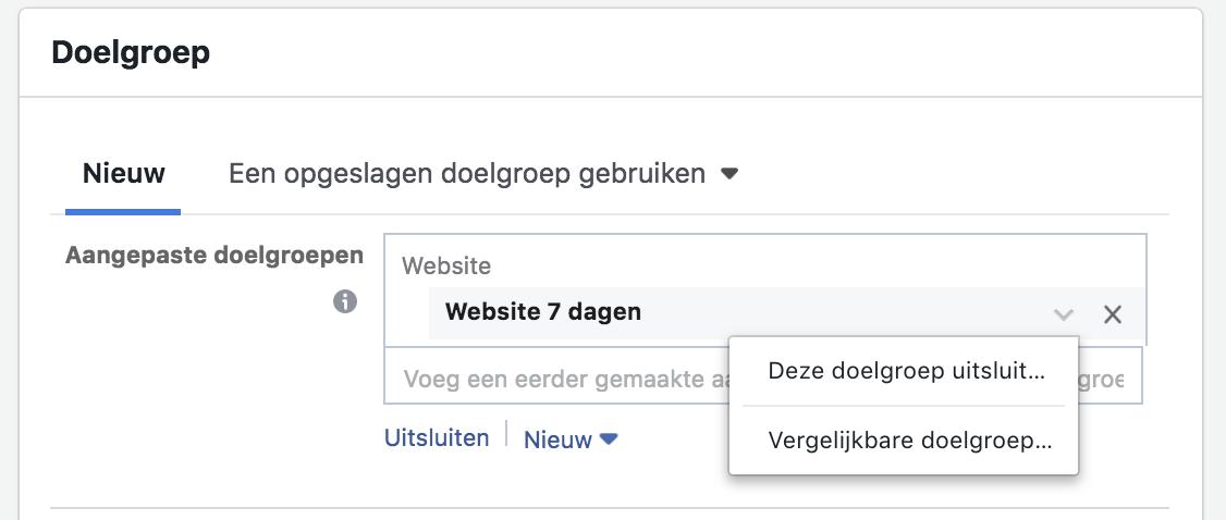 Facebook retargeting: aangepaste doelgroep instellen