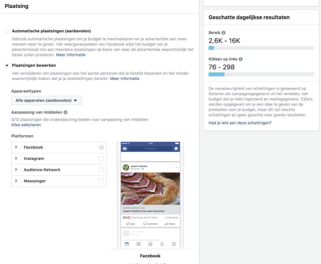 plaatsing binnen het facebook advertentiebeheer