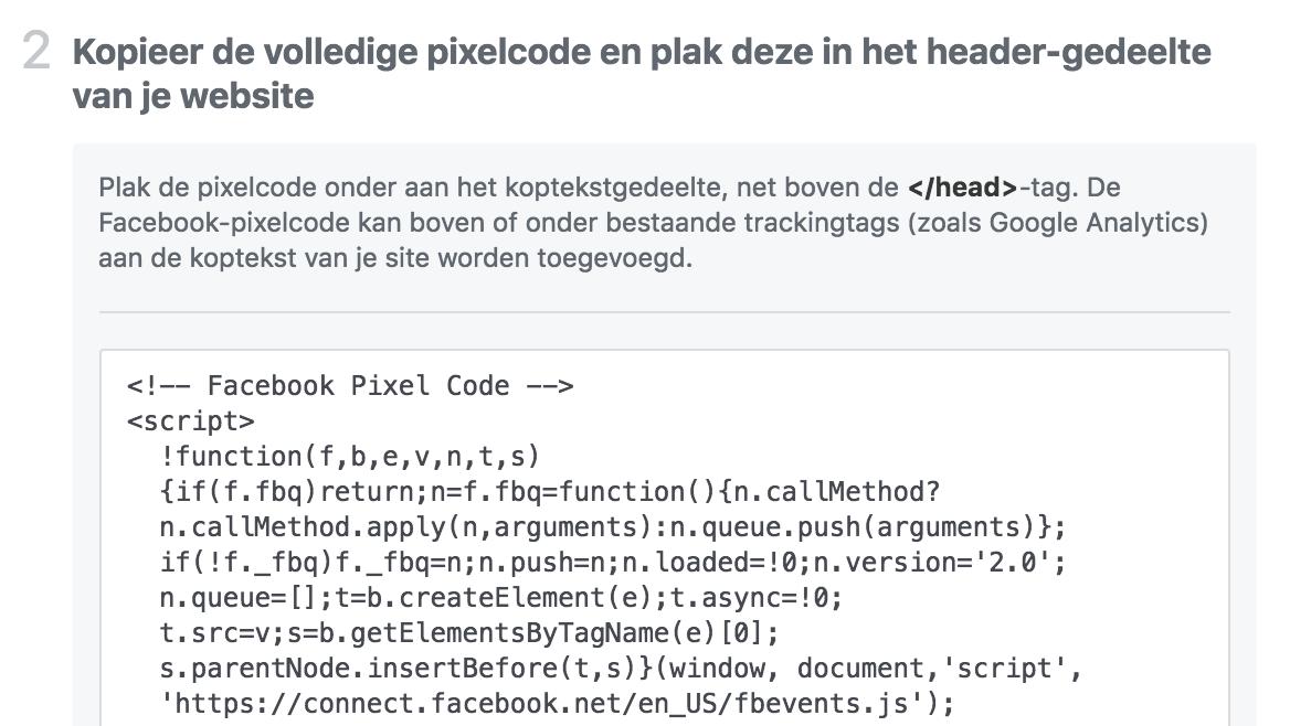 Code facebook tracking pixel
