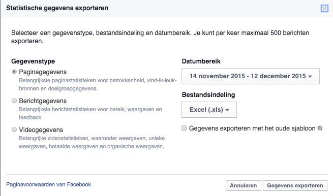 paginagegevens exporteren facebook