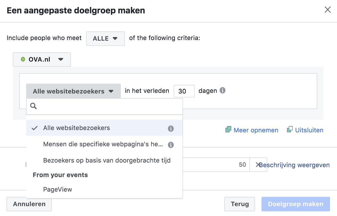 Facebook retargeting: aangepaste doelgroep aanmaken