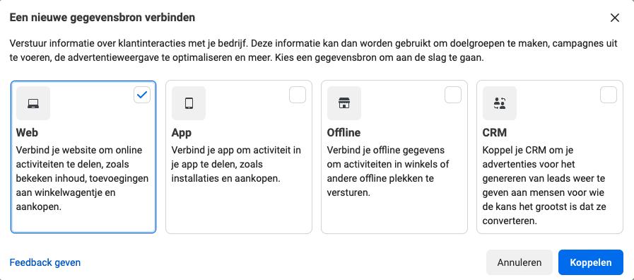 website koppelen facebook conversiepixel