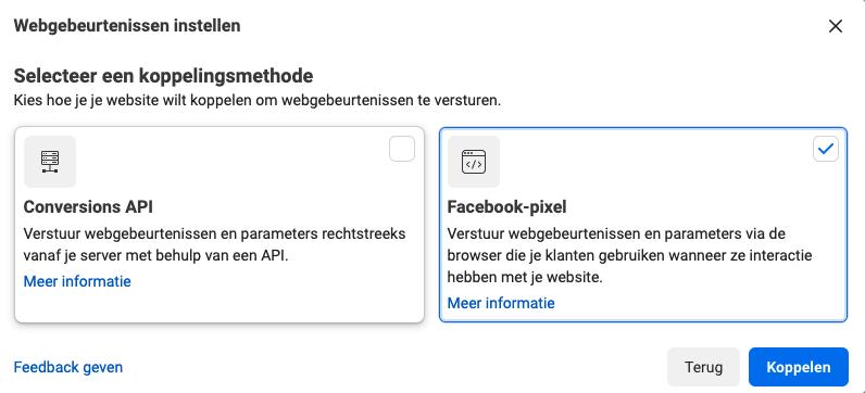 facebook pixel koppelen aan website