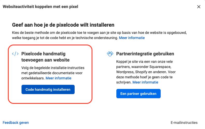 pixelcode handmatig op je website installeren