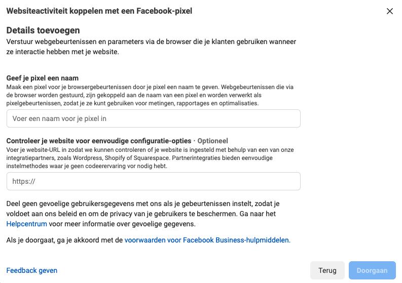 facebook conversiepixel naam en website0url meegeven